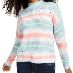 Hooked Up Juniors Striped Mock Neck Sweater Small